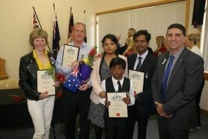 New Aussies: from left, citizenship candidates at South Gippsland Shire Council's ceremony were Diana Dan, Richard Burton, Shayan Siddique, Sabiha Zafrin and Mohammad Siddique, with mayor Cr Ray Argento.