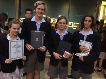 Top effort: from left, some of the award winning Newhaven College students,  Ingrid Nunn, Sports and Values; Nathan Foote, Values; Wil Vanderstaay, Values; and Mitchell Fallaw, Graphics; were presented with certificates during the annual presentation evening at the Senior School in Newhaven on Thursday.
