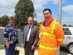 Safety measure: from left, South Gippsland Shire Council deputy mayor Cr Maxine Kiel, McMillan MP Russell Broadbent and VicRoads operations manager Henry Lam said 600 trucks had been removed from Bair Street per day as a result of the Leongatha heavy vehicle alternate route.