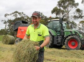 Warmth needed: Kardella agricultural contractor Phil McNaughton is happy with the silage he has been cutting this year, but said some warmer weather would be good.