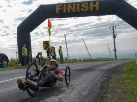 Hand cycle: well know para cyclist Alex Welsh at the finish of the race. Welsh is a familiar sight on the hilly back roads around Korumburra where he trains most days.