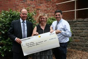 Wish granted: McMillan MP Russell Broadbent (left) gave a $5975 grant to Emily Ardley with the support of South Gippsland Shire mayor Cr Ray Argento (right).