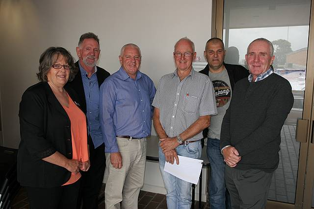 Go for it: South Gippsland Shire Councillor Lorraine Brunt is supportive of the plans to improve the Korumburra Indoor Recreation Centre as proposed by committee members, from left, Bill Jeffs, Don Olden, David Enbom, Carl Baido and Gary Adams.