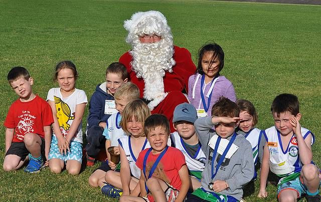 New recruit: Santa participated in little athletics with the On Track children.