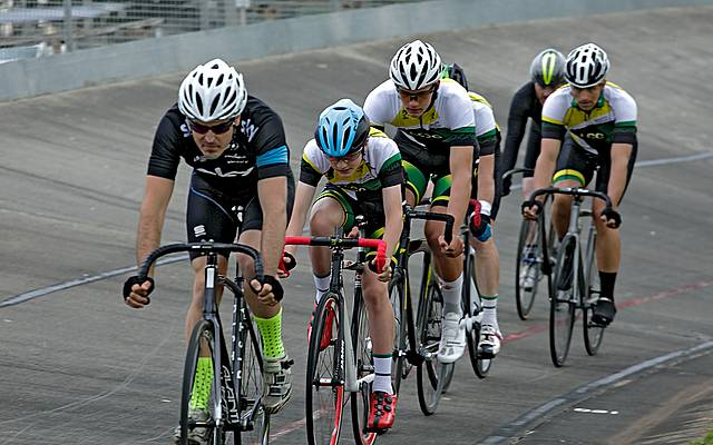 In front: Dylan Adams leading the A Grade eight lap scratch race on Friday night.